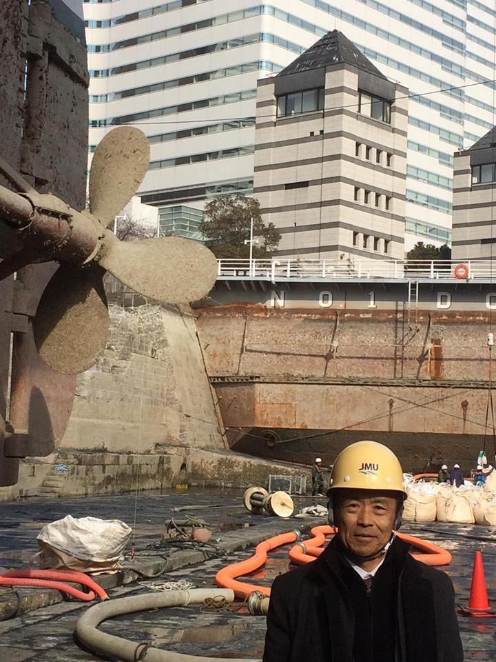 10.我らの「日本丸」旧)三菱重工第1号ドックに係留。このたび国の重要文化財指定を受けてドック水抜き大規模修繕化粧直し。横浜市会議員しみず富雄